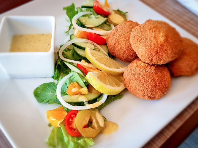 Fish Cakes at Feathers & Flatcaps Restaurant in Montagu